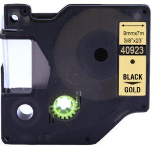 Taśma 40923 złota/czarny nadruk