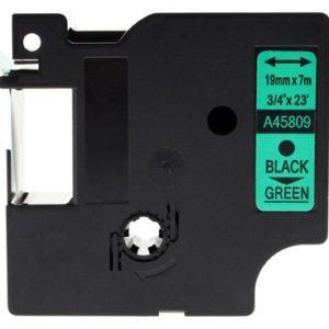 Taśma zamiennik Dymo 45809 (s0720890) zielona/ czarny nadruk