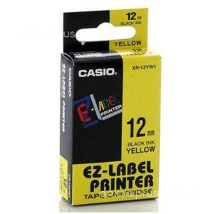 Taśma Casio XR12YW1 żółta/ czarny nadruk