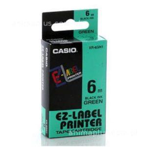 Taśma Casio XR6GN1 zielona/ czarny nadruk