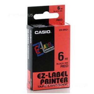Taśma Casio XR6RD1 biała/ czarny nadruk