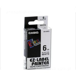 Taśma Casio XR6WE1 biała/ czarny nadruk