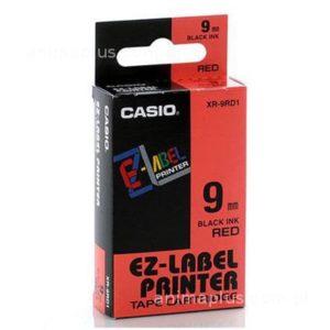 Taśma Casio XR9RD1 czerwona/ czarny nadruk
