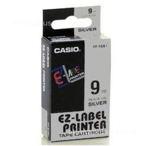Taśma Casio XR9SR1 srebrna/ czarny nadruk