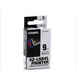 Taśma Casio XR9WE1 biała/ czarny nadruk