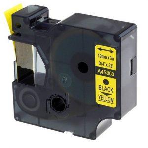 Taśma zamiennik Dymo 45808 (s0720880) żółta/czarny nadruk