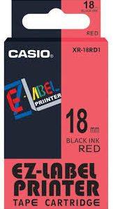 Taśma Casio XR18RD1 czerwona/ czarny nadruk
