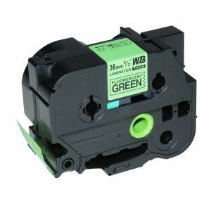 Taśma AZe-D61 zamiennik Brother TZe-D61 TZD61 zielony fluo/ czarny nadruk