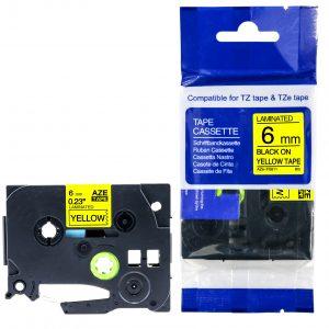 Taśma AZe-FX611 zamiennik Brother TZe-FX611 TZFX611 żółta/ czarny nadruk elastyczna