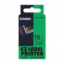 Taśma Casio XR18GN1 zielona/ czarny nadruk